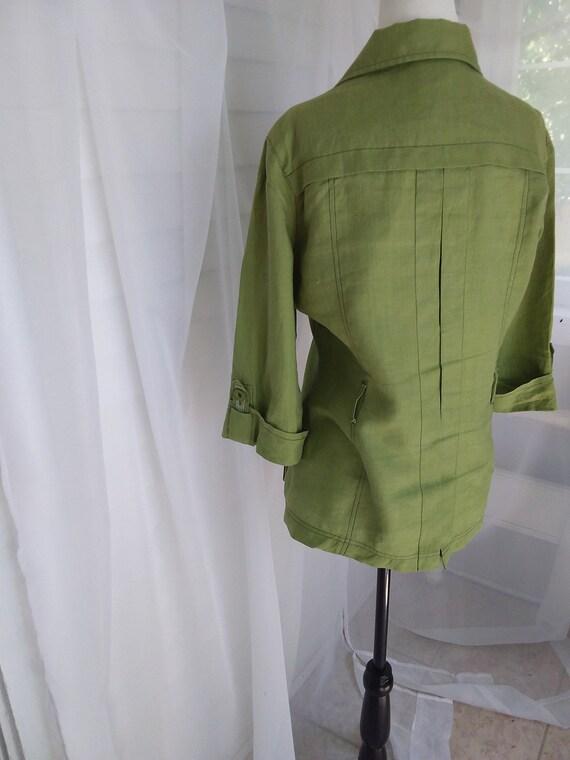 Vintage Linen Jacket/Green Linen Jacket - image 9