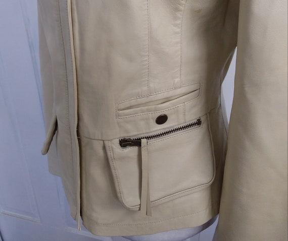 Beige Leather Jacket/Leather Motorcycle Jacket/Vi… - image 10