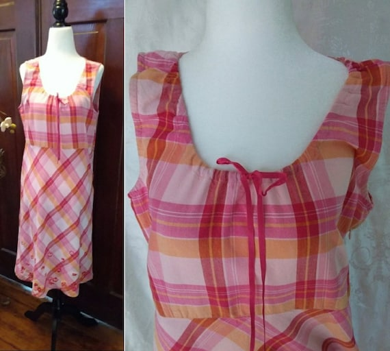 Vintage Embroidered Laura Ashley Check Cotton Dres