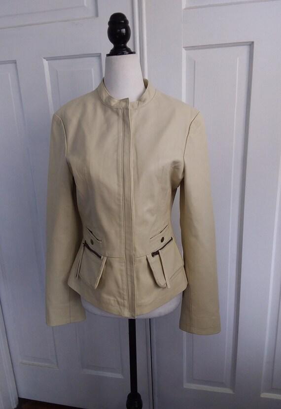 Beige Leather Jacket/Leather Motorcycle Jacket/Vi… - image 2