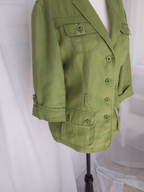 Vintage Linen Jacket/Green Linen Jacket - image 3