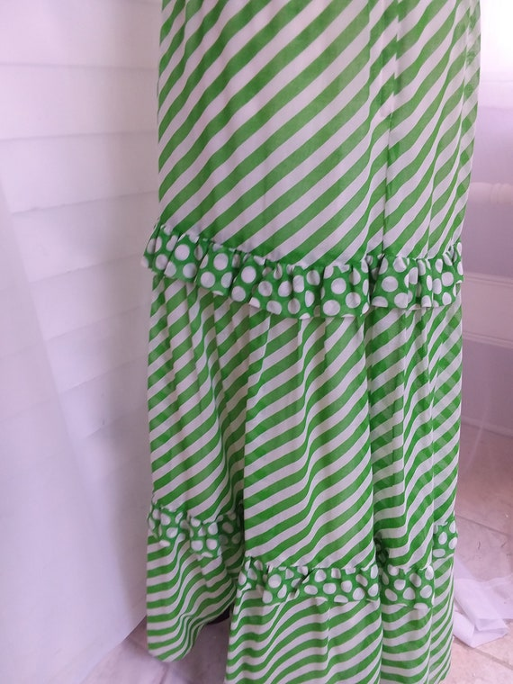 Vintage 60s Sundress/60s Boho Dress/60s Green Dre… - image 7