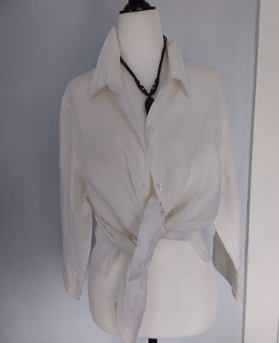 Vintage White Linen Blouse/Linen Blouse/Genuine Li