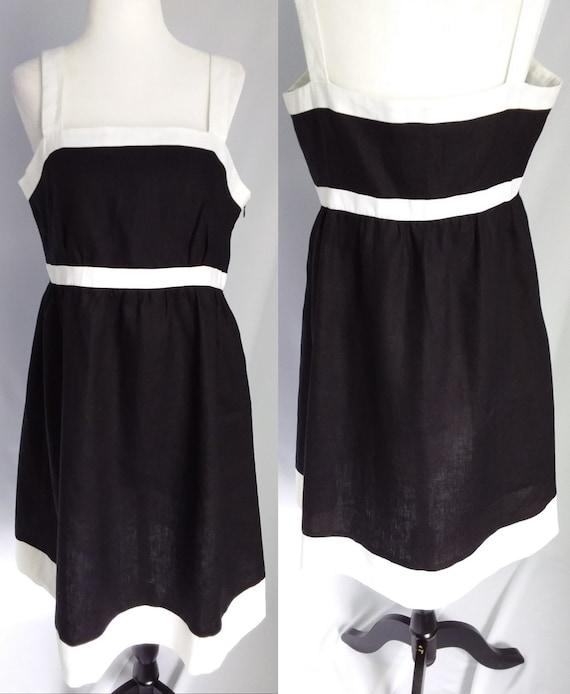Vintage Linen Dress/Large Black Linen Dress - image 1