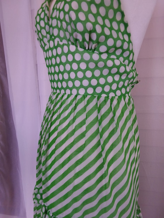 Vintage 60s Sundress/60s Boho Dress/60s Green Dre… - image 5