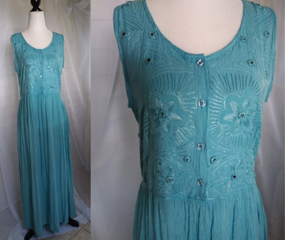 Vintage Teal Cotton Maxi Dress/80s Boho Dress/Wome