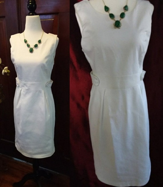 Vintage White Dress/60s Style/Audrey Hepburn Dress