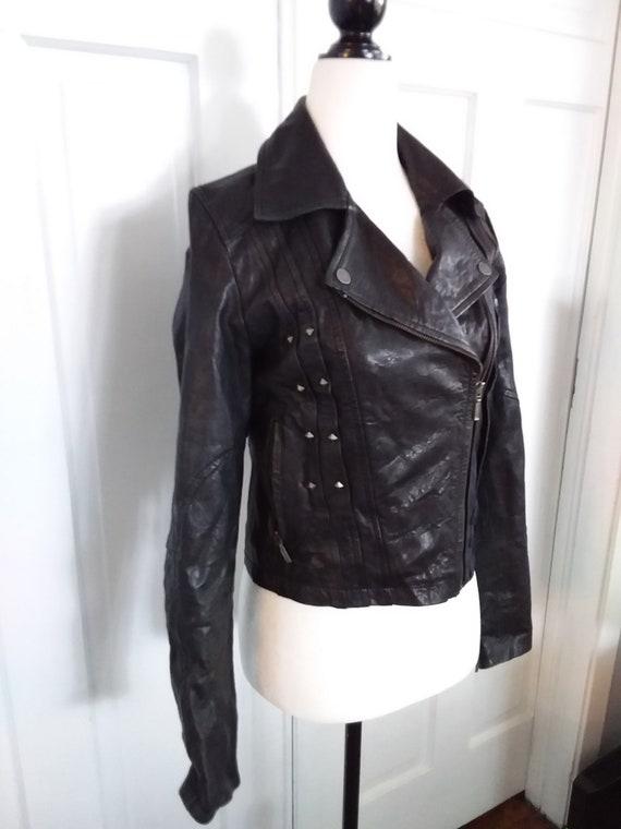 Faux Leather Motorcycle Jacket/Vintage Motorcycle… - image 3