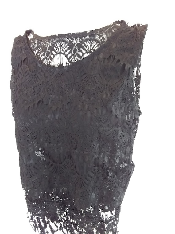 Black Lace Top/Vintage Lace - image 1