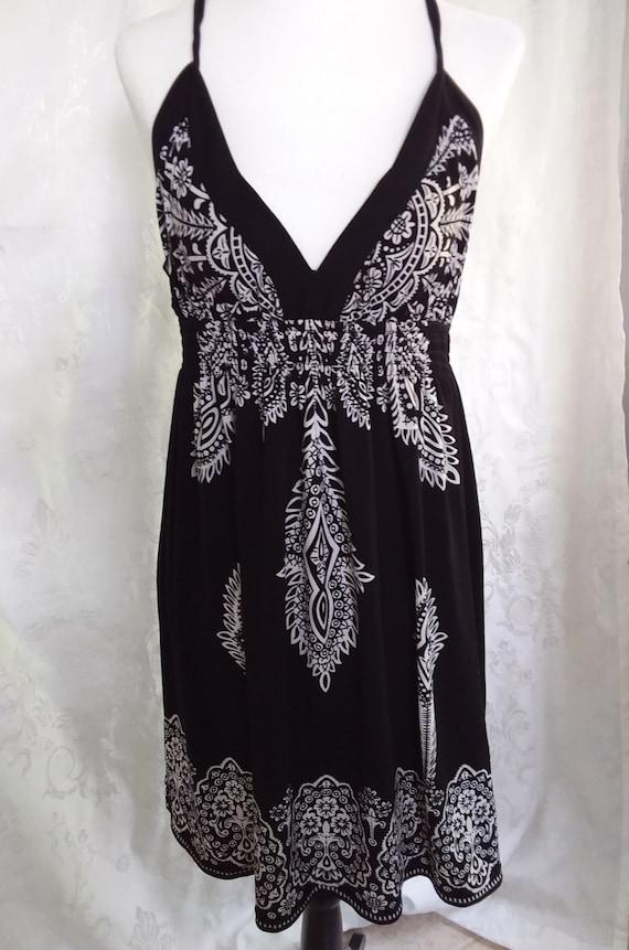 Vintage Black and White Sundress/80s Sundress