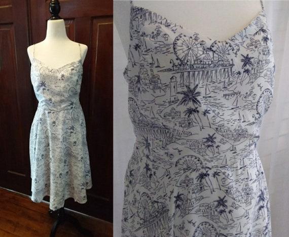 Vintage Sundress/Blue Sundress/Womens Dresses