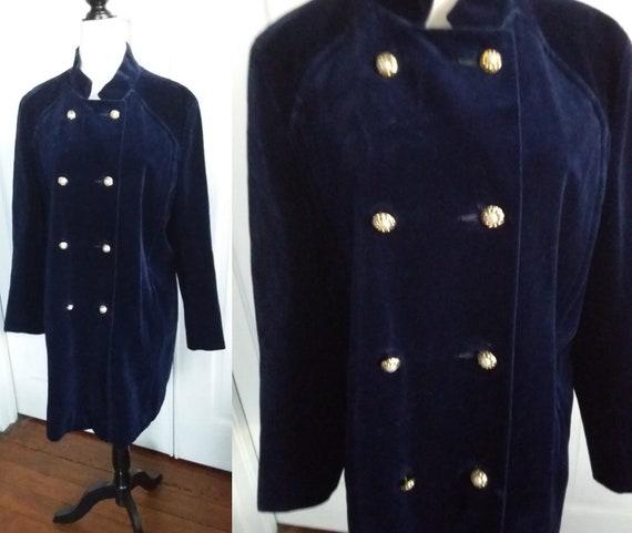 60s Velvet Coat/Navy Blue Vintage 60s Coat/Lydia S