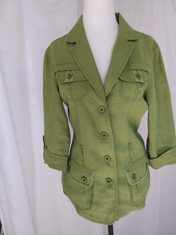 Vintage Linen Jacket/Green Linen Jacket - image 2