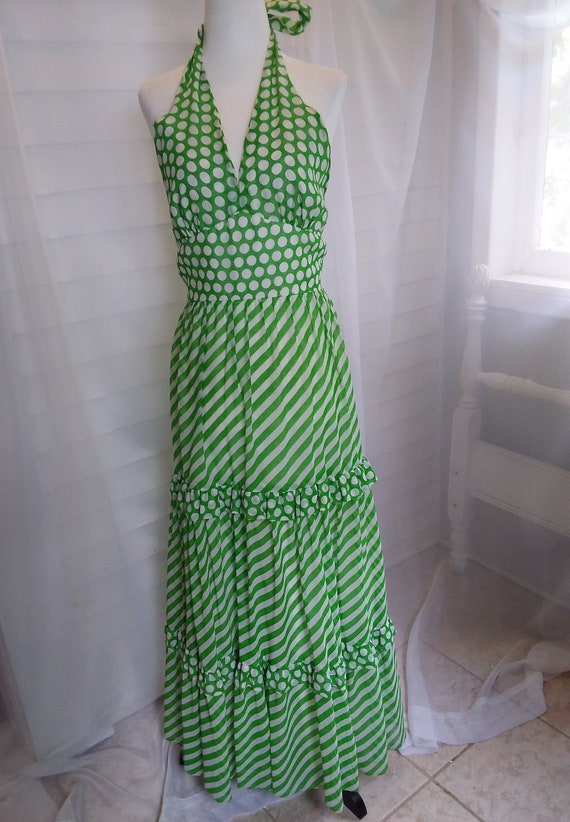 Vintage 60s Sundress/60s Boho Dress/60s Green Dre… - image 2