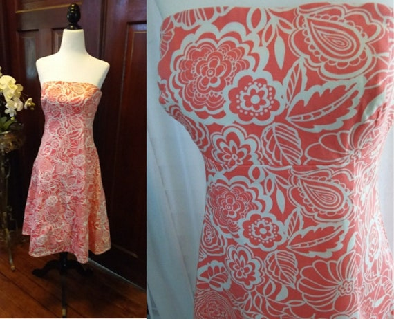 Vintage Tea Dress/Strapless Tea Dress/Coral Dress/