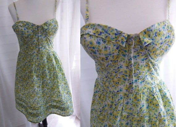 60s Vintage Floral Sundress/Yellow Sundress/60s Dr