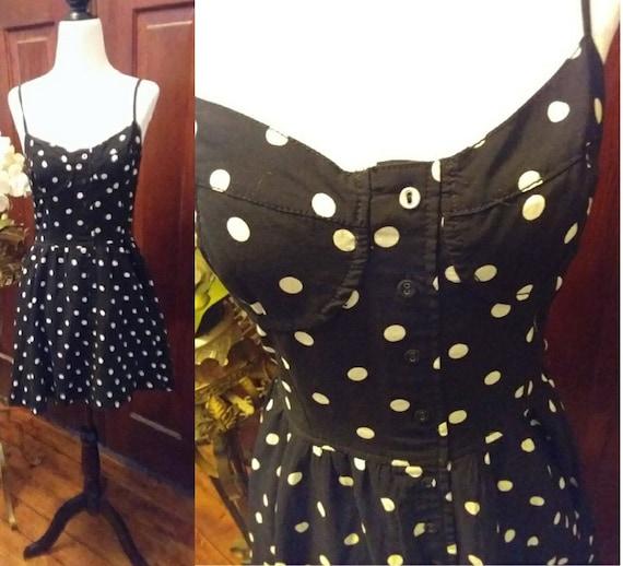 Vintage Black and White Polka Dot Mini Sundress/70
