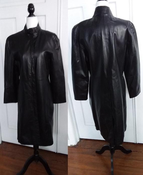 Black Leather Coat/Vintage Leather Coat/Womens Lea