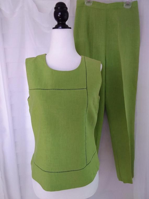 Vintage Linen Pantsuit/Chartreuse Pantsuit/Green 9