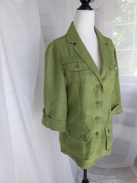 Vintage Linen Jacket/Green Linen Jacket - image 7
