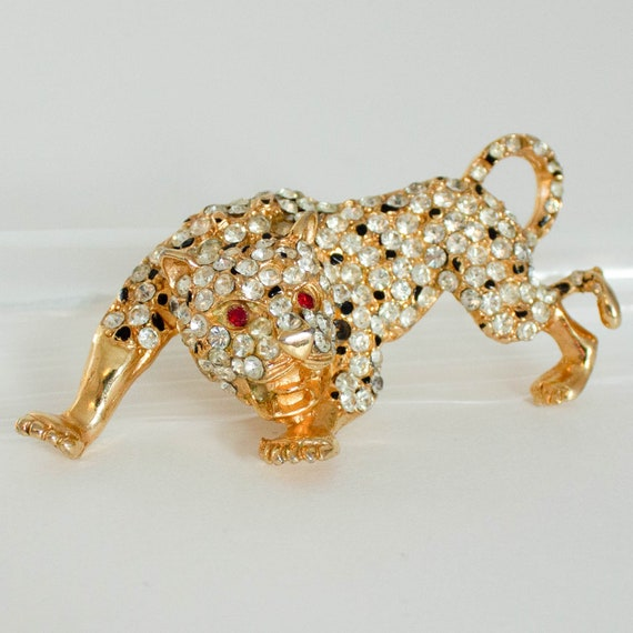 Vintage Rhinestone Jaguar Leopard Cheetah Brooch P