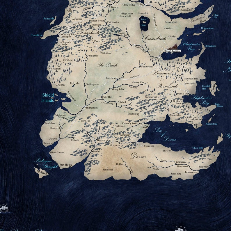 graphic about Game of Thrones Printable Map called Printable Match of Thrones Map of the 7 Kingdoms 24x36 60x40 32x48