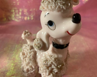 Vintage Porcelain Spaghetti Poodle Figurine with Rose and Gold Detailing made in Japan