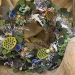 Silver Dollar Eucalyptus Wreath, Seeded Eucalyptus, Mini Lotus Pod Wreath, Dried Nigella Pods, Preserved Blue Echinops, Angel Vine