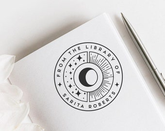 Moon Phases Custom Ex Libris Stamp, Astronomy Bookplate Stamp, Boho Book Stamp, Library Stamp, Book lovers Gift  -1151020720-
