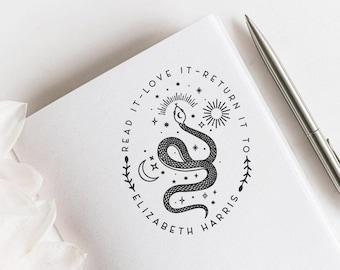 Mystical Snake Custom Ex Libris, Snake and Planets Ex Libris Stamp, Boho Snake Ex Libris,  Library Stamp, Book lovers Gift  -18350321-