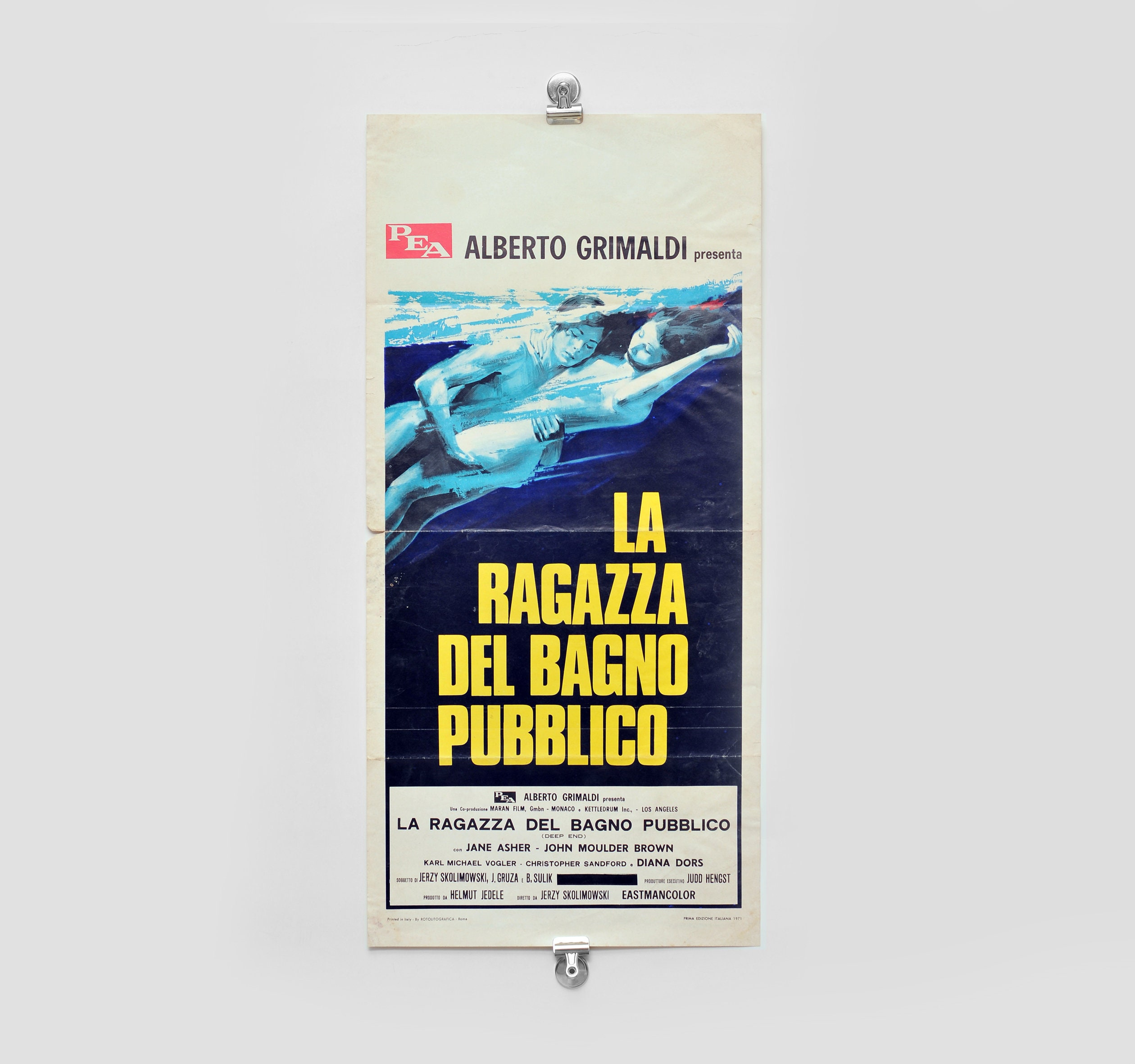 Deep End 1970 original movie poster very rare italian 1971 print Jerzy  Skolimowski Alberto Grimaldi