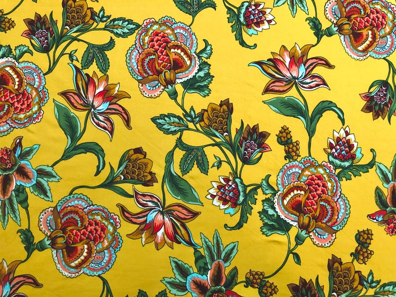 2 Way Stretch DTY Doubled Sided Brushed Mustard Brown Aqua Green Lotus Flowers Fabric