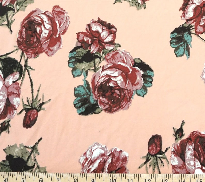 4 Way Stretch DTY Double Sided Brushed Pink Green Red Roses Fabric