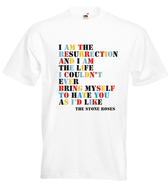 The Stone Roses Men/'s I am The Resurrection T-shirt White Small
