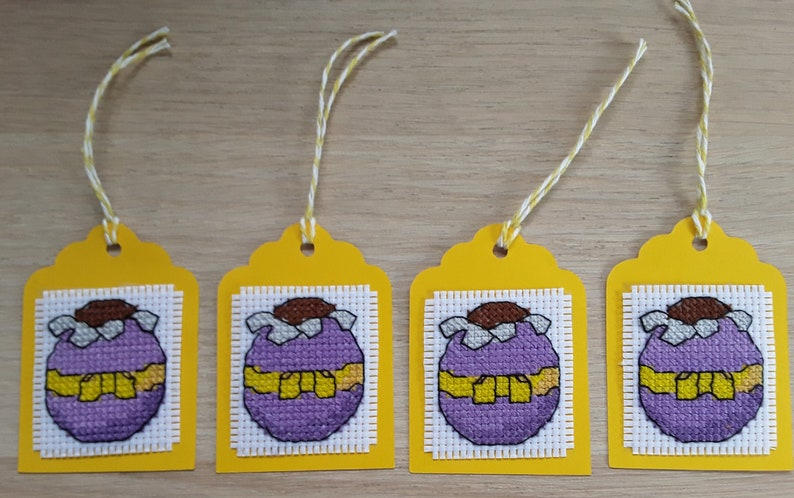 Set of 4 Handmade Cross Stitch Easter Gift Tags Chocolate Egg