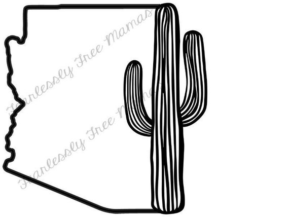 Az Outline Saguaro Svg Cricut Silhouette Svg Png Jpeg Arizona Etsy