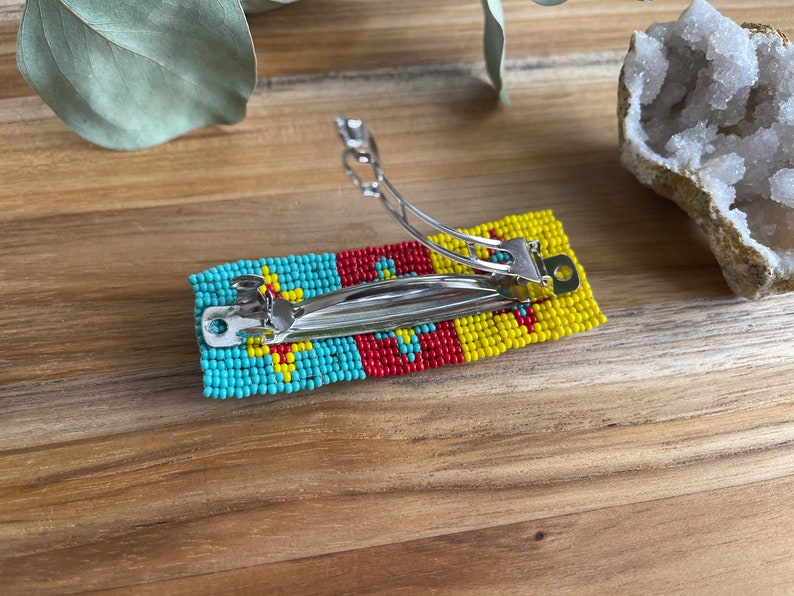 Beaded Hair Barrette ~ OOAK Long Hair Spring Clip Red Teal Yellow Seed Beads Southwestern Wearable Art Statement Piece Slow Fashion Woman