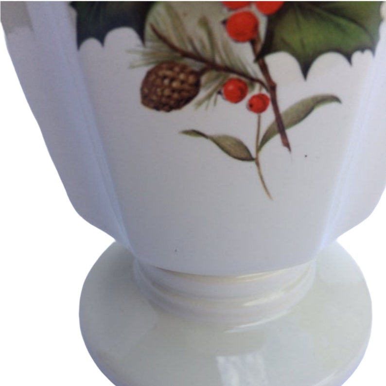 Tall Mid Century Pedestal Vase with Fluted Sides Vintage Haeger Vase #303 White Pottery with Decorative Autumn Winter Floral Motiff