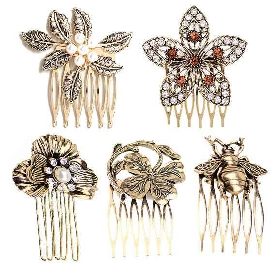 Vintage Diamond Metal Hair Comb, Individual Bee/Butterfly Hair Comb, Elegant Metal Hair clip, Bridal comb, Minimalist hairpin, Hair jewelry