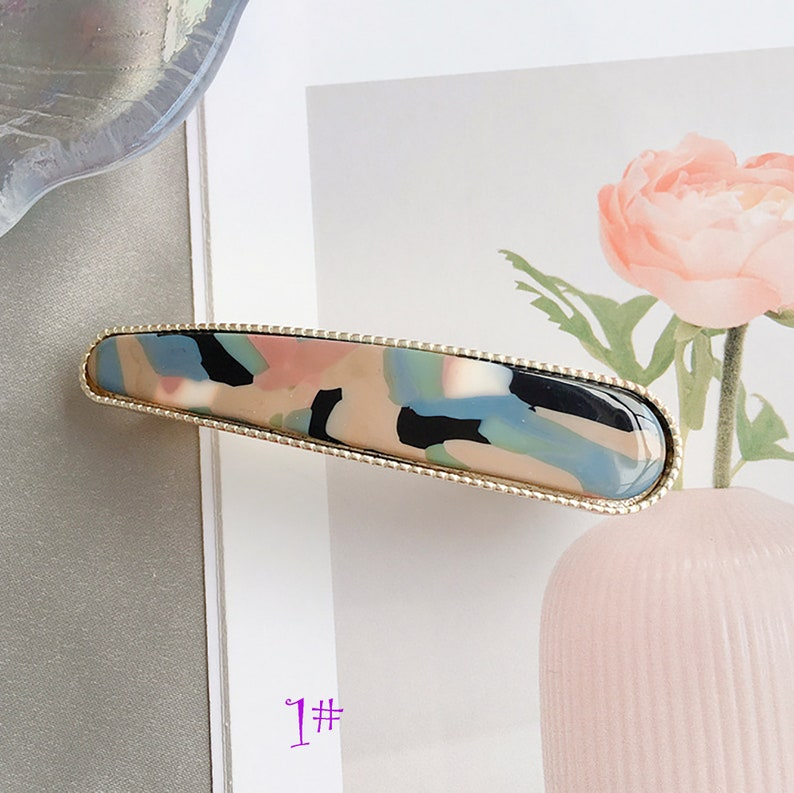 2019 New Fashion 1 pc Hand-made Vintage Hair Clip Pink Acrylic Acid  Hairpin Leopard Spring Clip Marble hair clip hair Jewelry