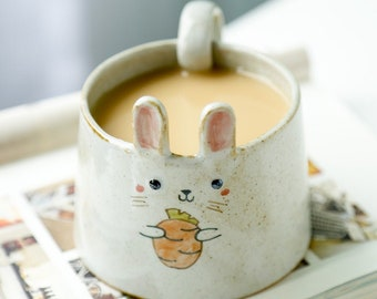 A set of rabbit mug/Hand Painted Mug/Handmade Mug/Cute Mug/Clay Mug/Clay Cup/animal  tea and coffee cup/Handmade coffee cup
