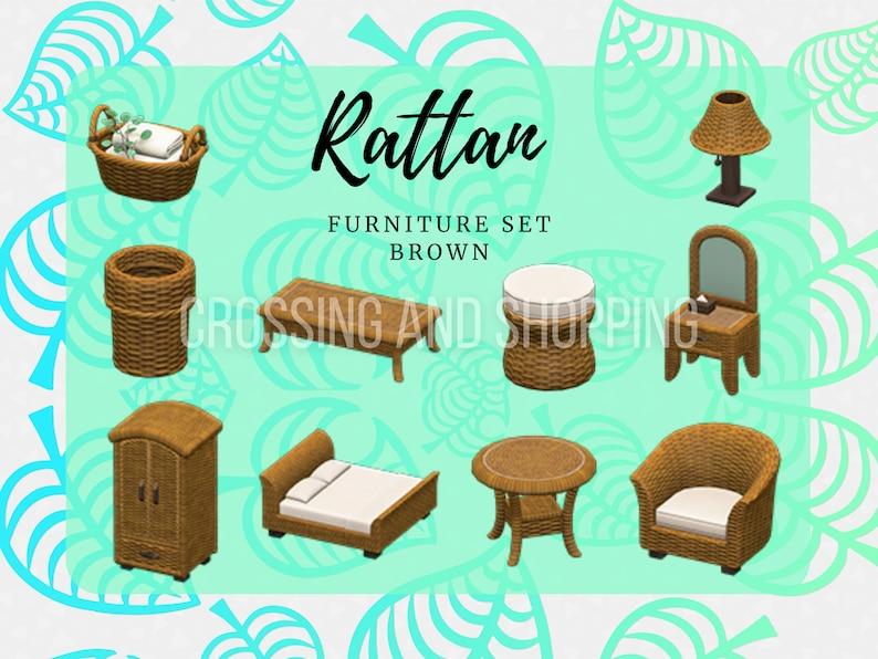 Animal Crossing ACNH Rattan FULL Furniture set All colors ...