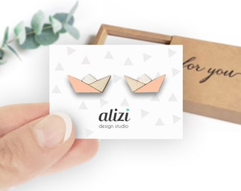 Origami Paper Boat White Painted Wood Stud Earrings Sailor Captain Cute Boating Jewelry