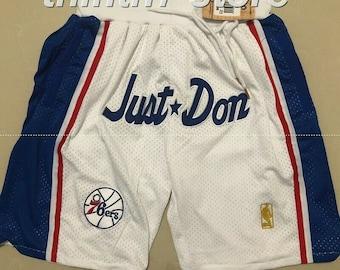 New Men/'s Washington Wizards Bullets just don LOGO Basketball Pants Shorts White
