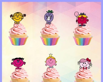 Little Miss edible Stand up Cupcake toppers - 24 in a pack