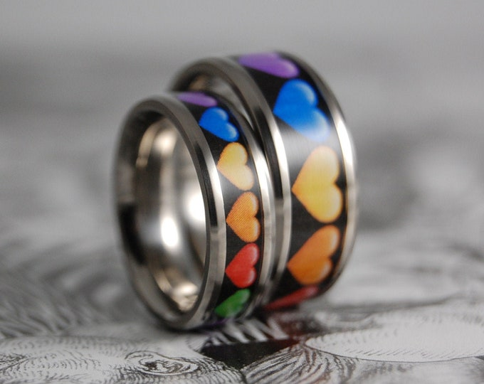 Titanium Rings, Titanium Ring Set, Wedding Rings, Wedding Bands, Promise Rings, Friendship Rings, Ring Set, Titanium Inlay Ring