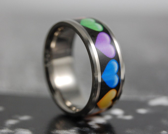 Rainbow Hearts, Titanium Ring, Wedding Ring, Wedding Band, Promise Ring, Friendship Ring, Titanium Inlay Ring
