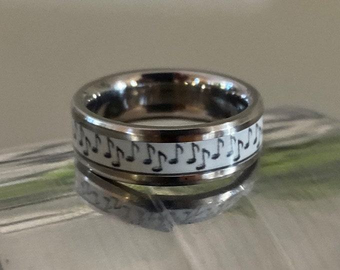 Musical Note Band, Titanium Ring, Wedding Ring, Wedding Band, Promise Ring, Friendship Ring, Titanium Inlay Ring