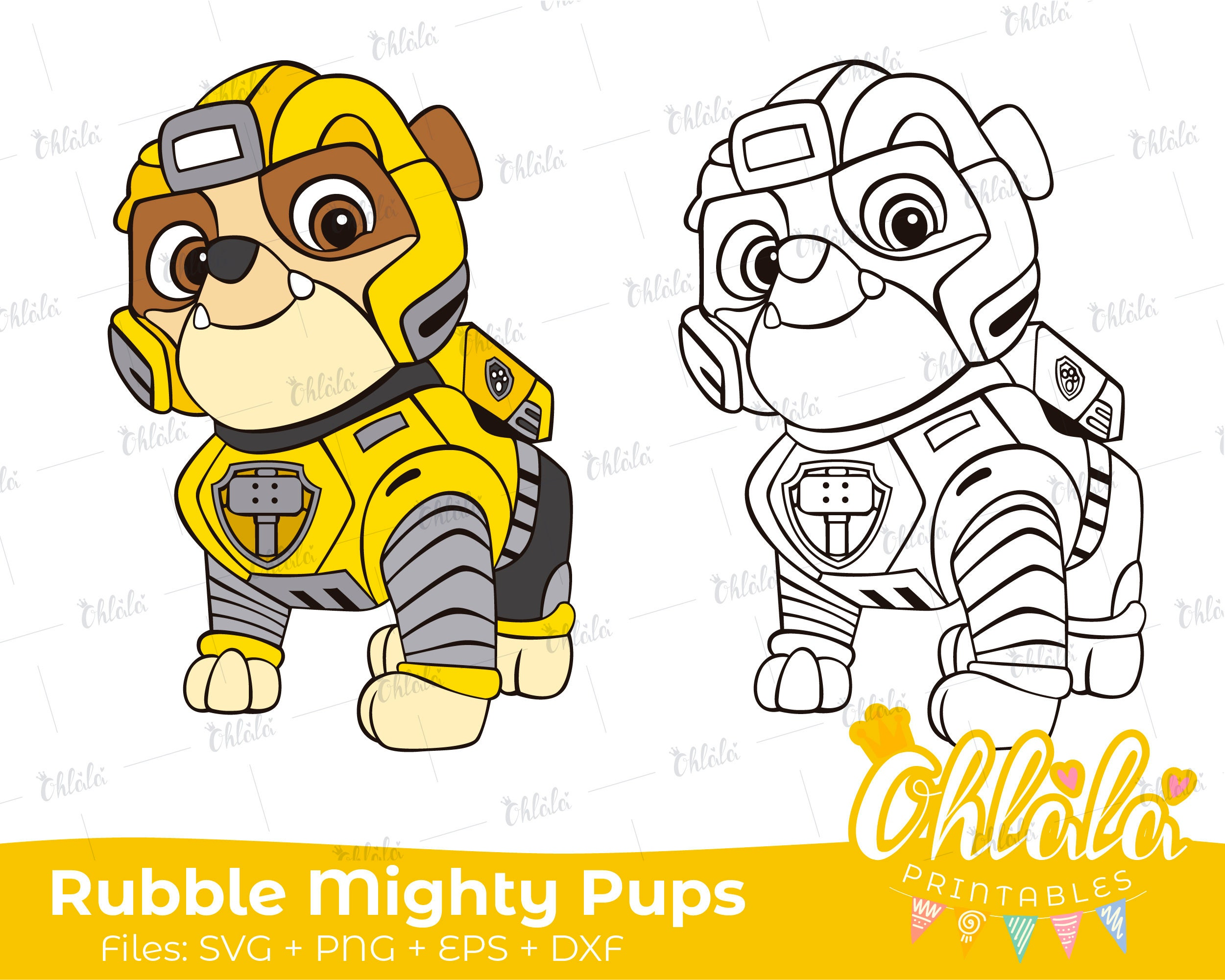 Rubble Paw Patrol Mighty Pups Clipart Character Movie SVG PNG EPS dxf files  printables party happy Birthday cutting dog super hero
