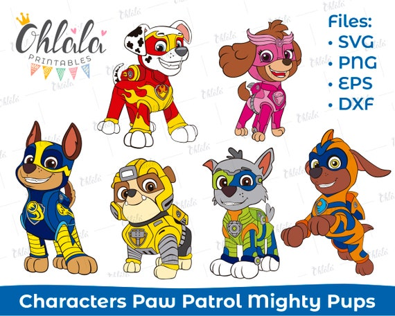 Paw Patrol Mighty Pups Clipart Character Svg Png Eps Dxf Files Printables Party Birthday Cutting Dog Super Hero Chase Skye Rubble Rockie